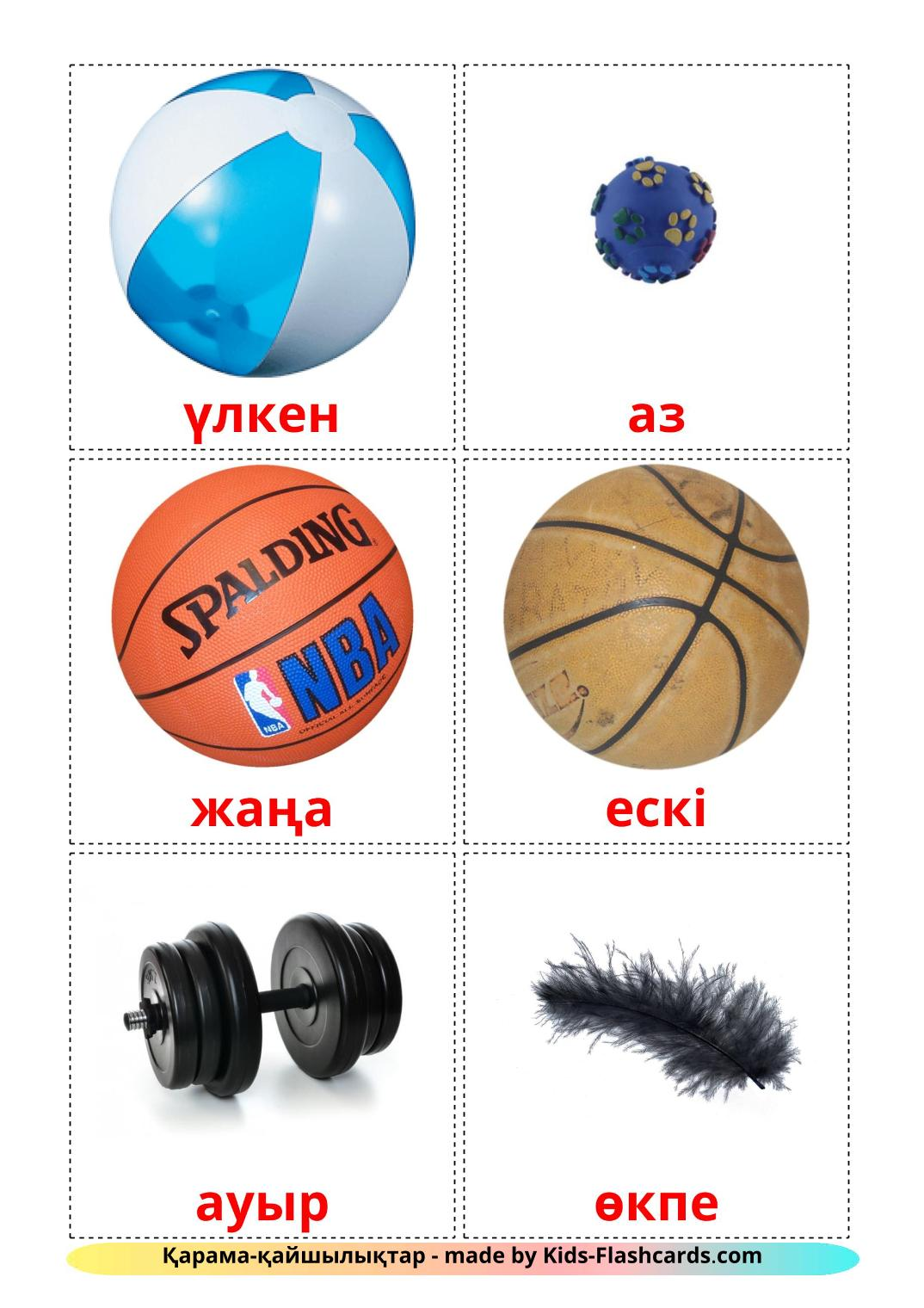 Opposites - 74 Free Printable kazakh Flashcards