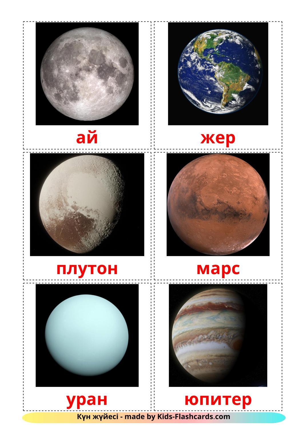 Solar System - 20 Free Printable kazakh Flashcards