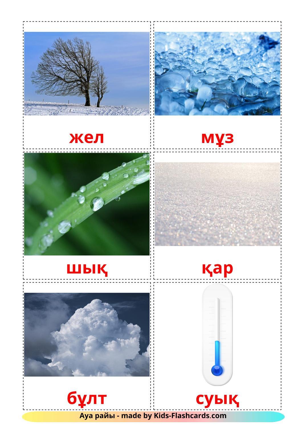 Weather - 31 Free Printable kazakh Flashcards
