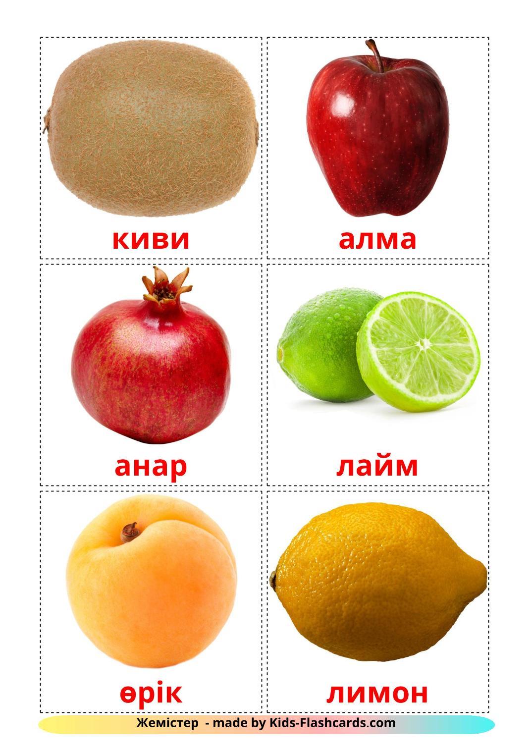 Fruits - 20 Free Printable kazakh Flashcards