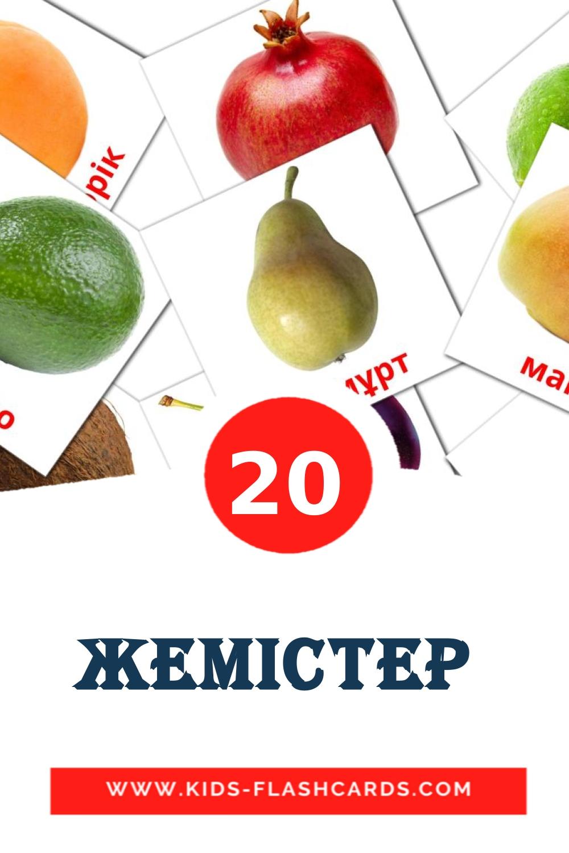20 Жемістер  Picture Cards for Kindergarden in kazakh