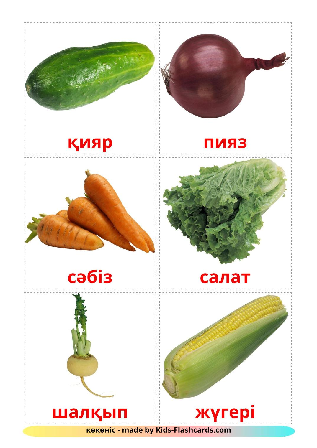 Vegetables - 29 Free Printable kazakh Flashcards