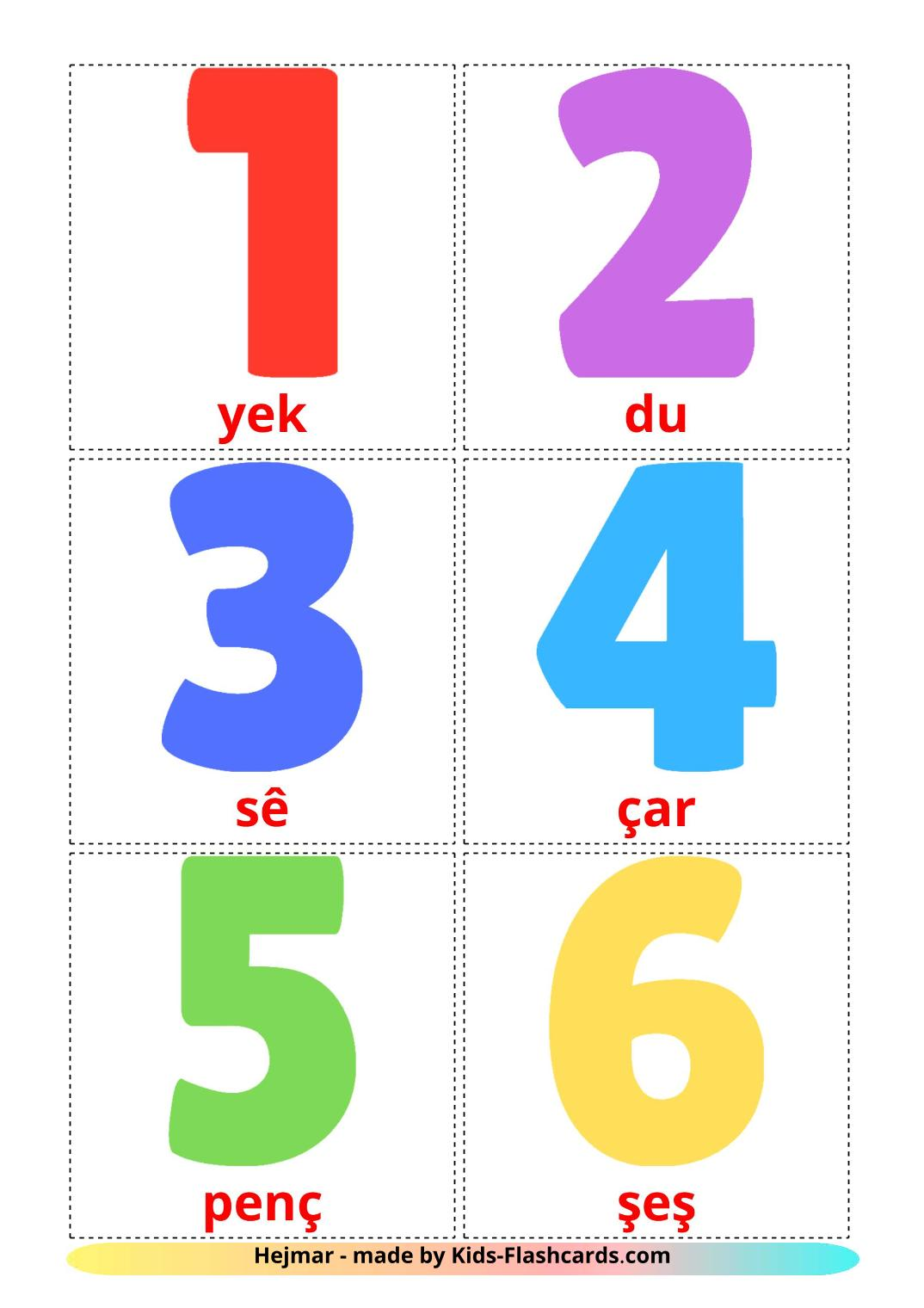 Numbers (1-20) - 20 Free Printable kurmanj(Kurdish) Flashcards