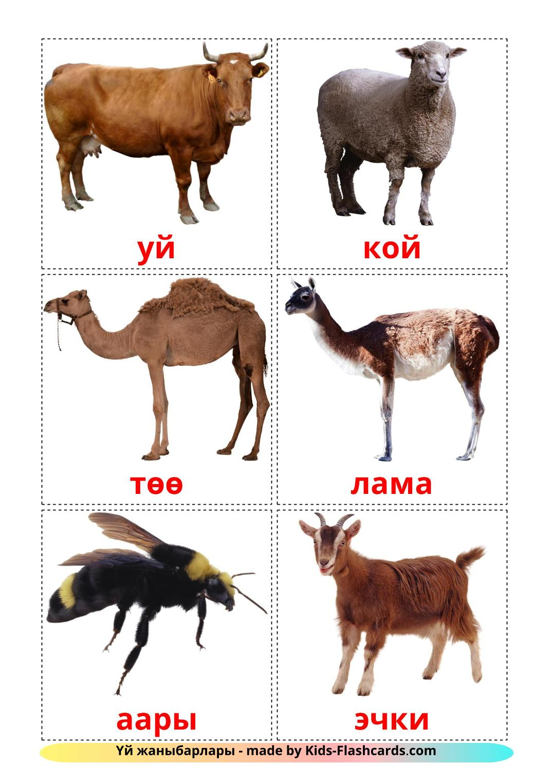 Farm animals - 15 Free Printable kyrgyz Flashcards
