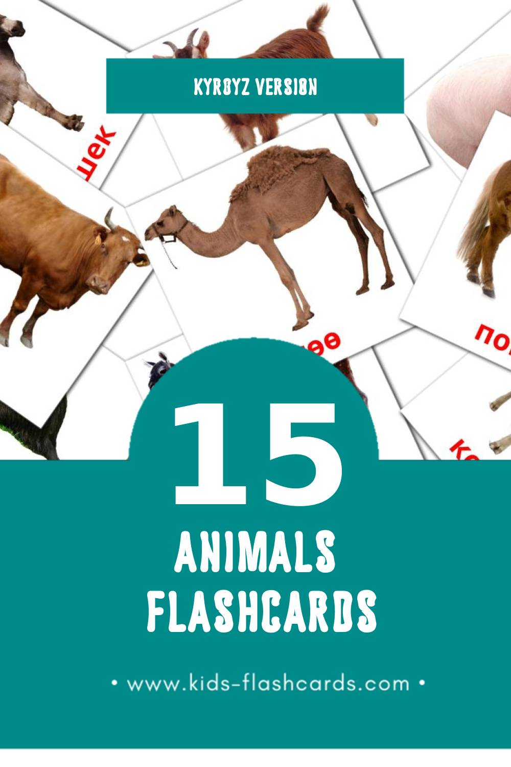 Visual Жаныбарлар Flashcards for Toddlers (15 cards in Kyrgyz)