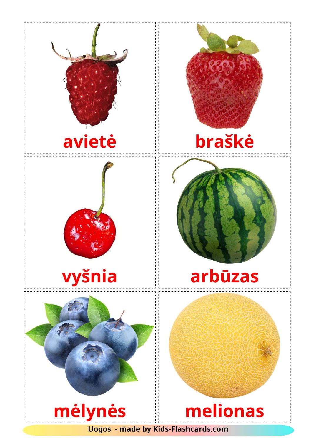 Berries - 11 Free Printable lithuanian Flashcards
