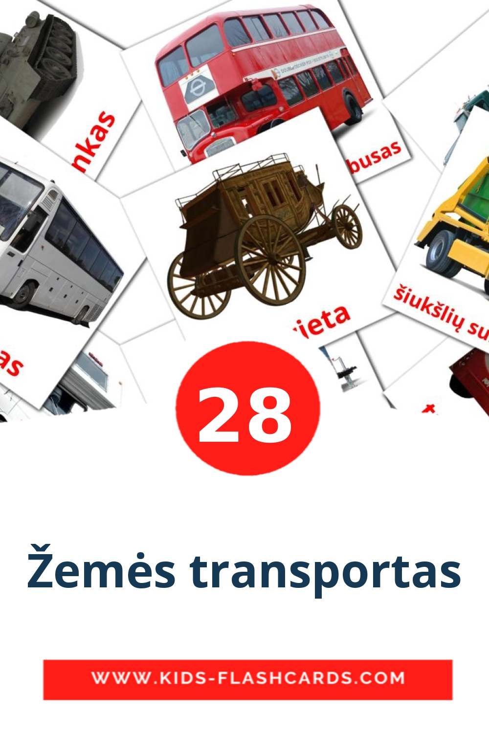 28 Žemės transportas Picture Cards for Kindergarden in lithuanian