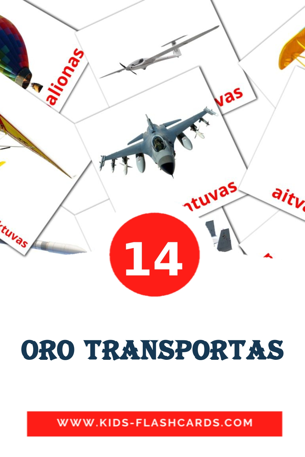 14 Oro transportas Picture Cards for Kindergarden in lithuanian