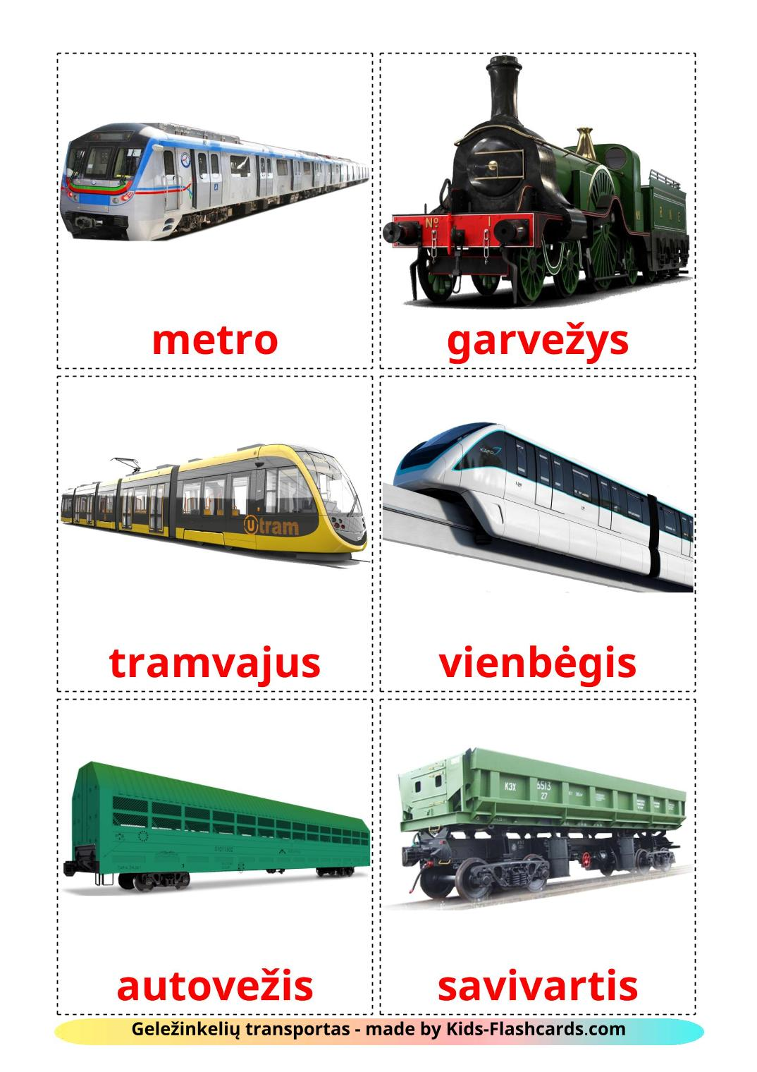 Rail transport - 18 Free Printable lithuanian Flashcards