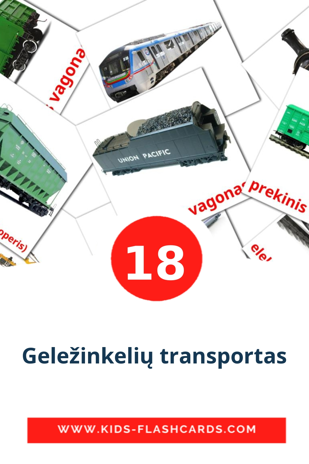 18 Geležinkelių transportas Picture Cards for Kindergarden in lithuanian