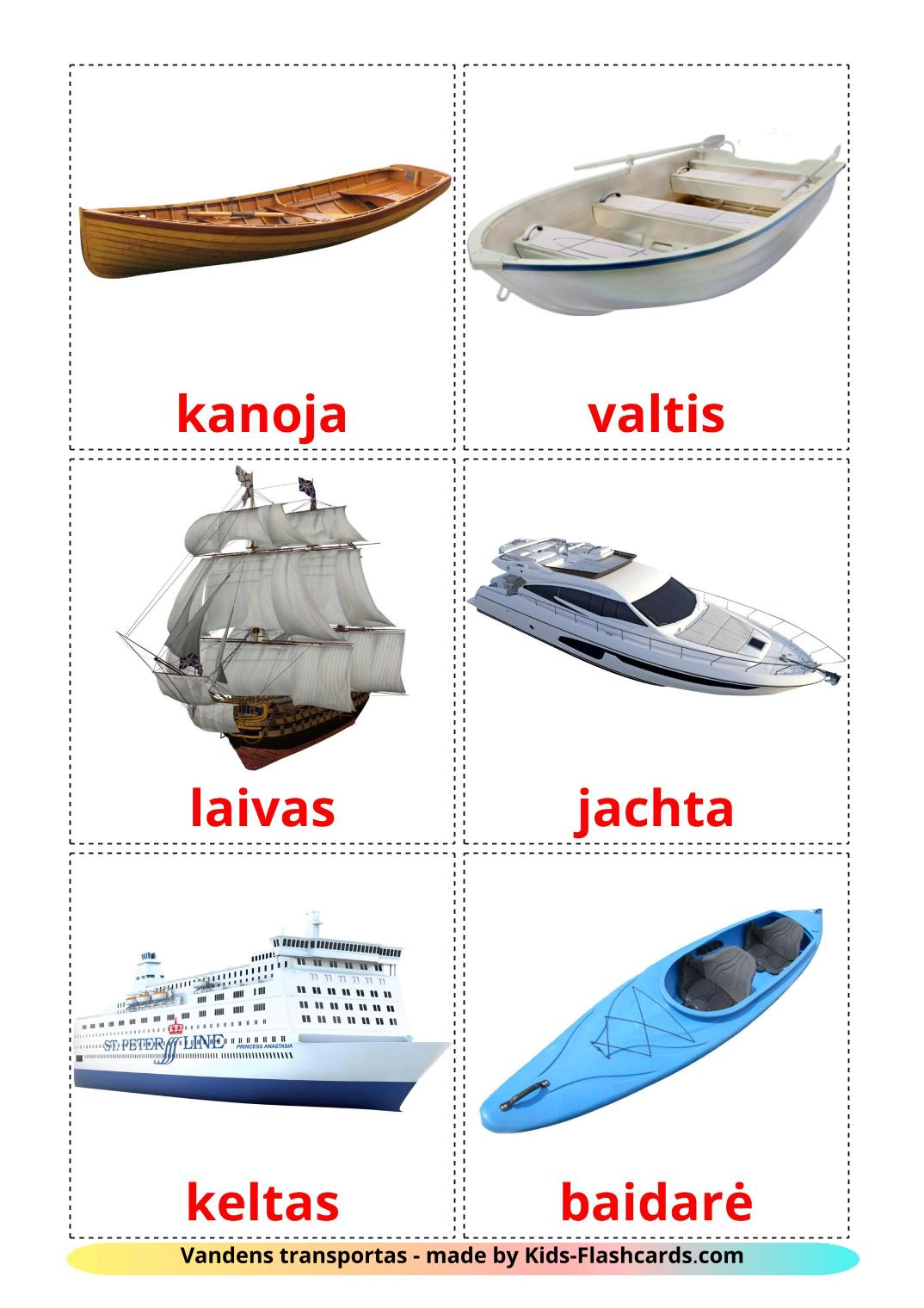 Water transport - 18 Free Printable lithuanian Flashcards