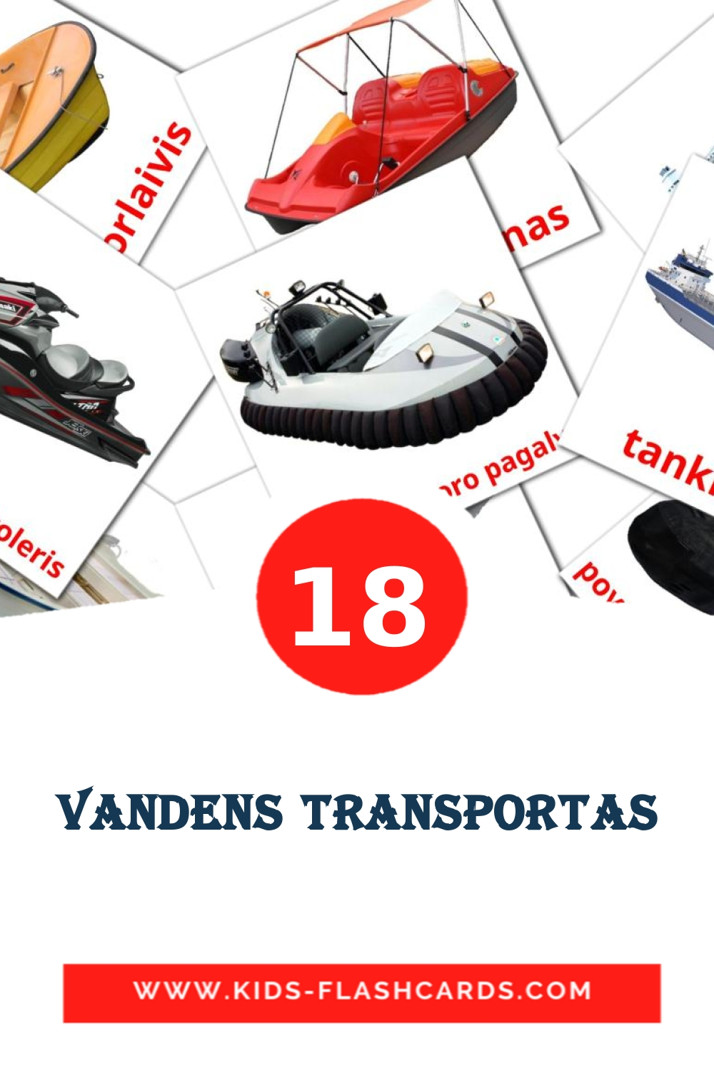 18 Vandens transportas Picture Cards for Kindergarden in lithuanian