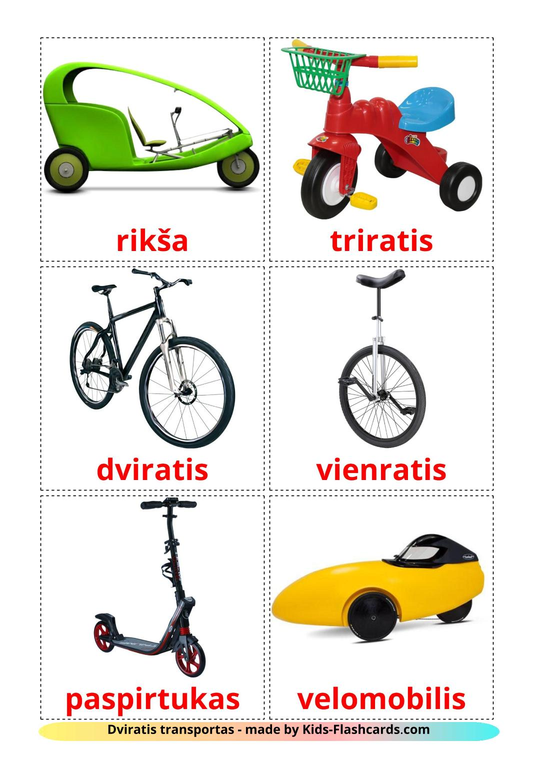Bicycle transport - 16 Free Printable lithuanian Flashcards