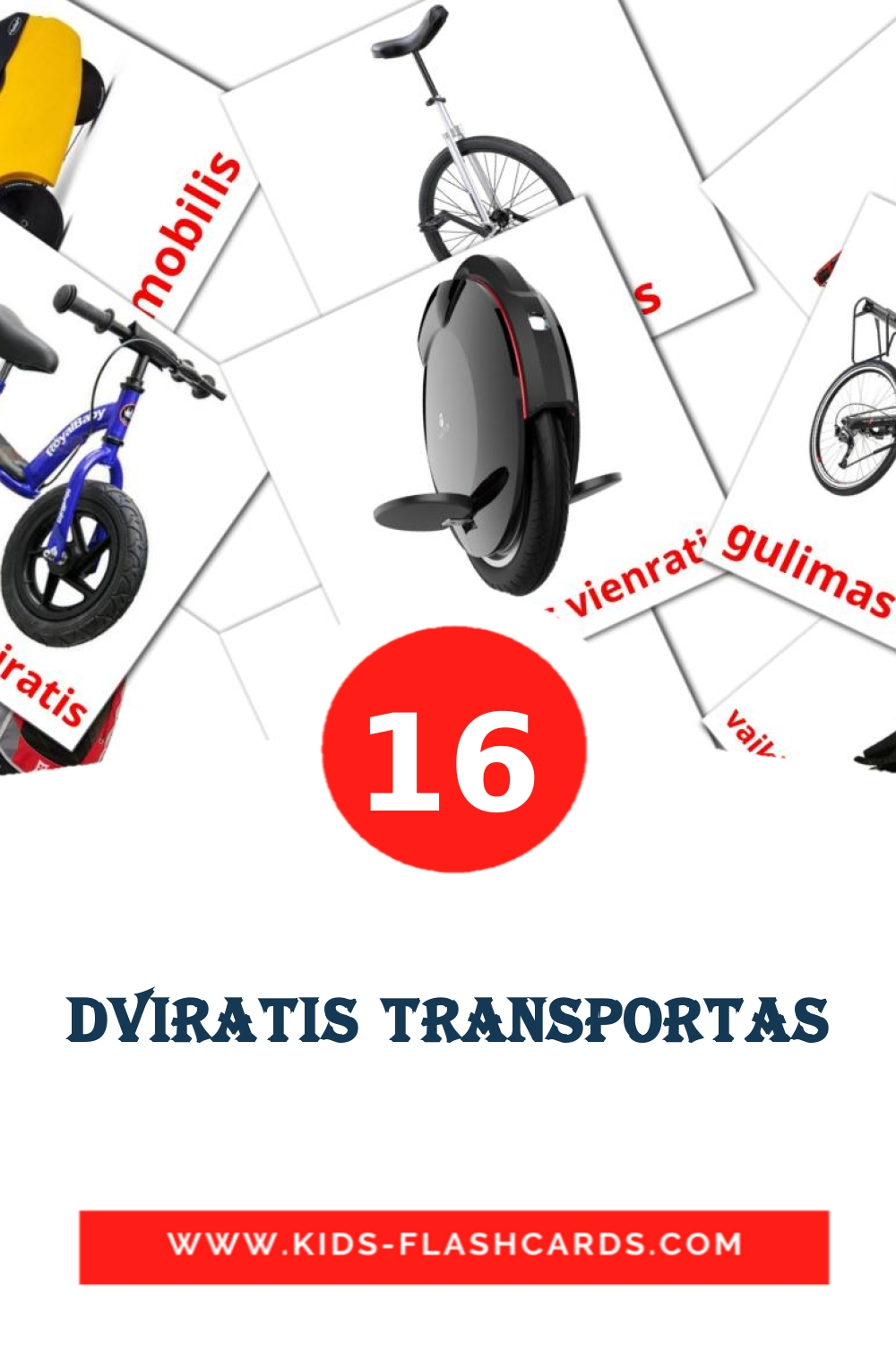 16 Dviratis transportas Picture Cards for Kindergarden in lithuanian