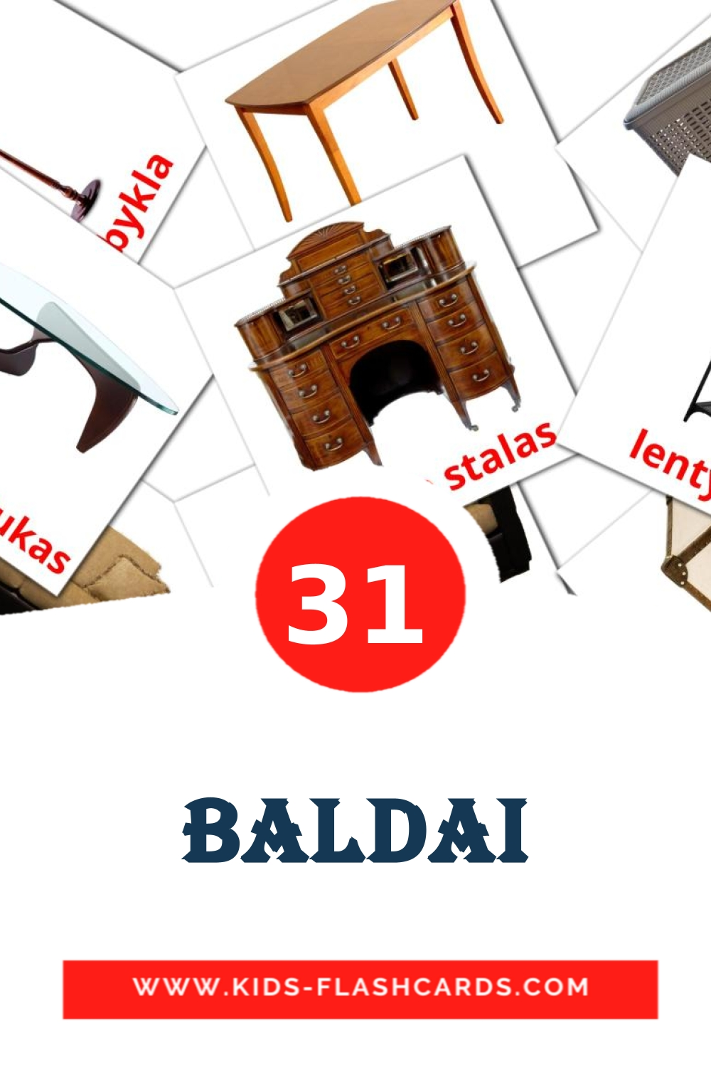 31 Baldai Picture Cards for Kindergarden in lithuanian