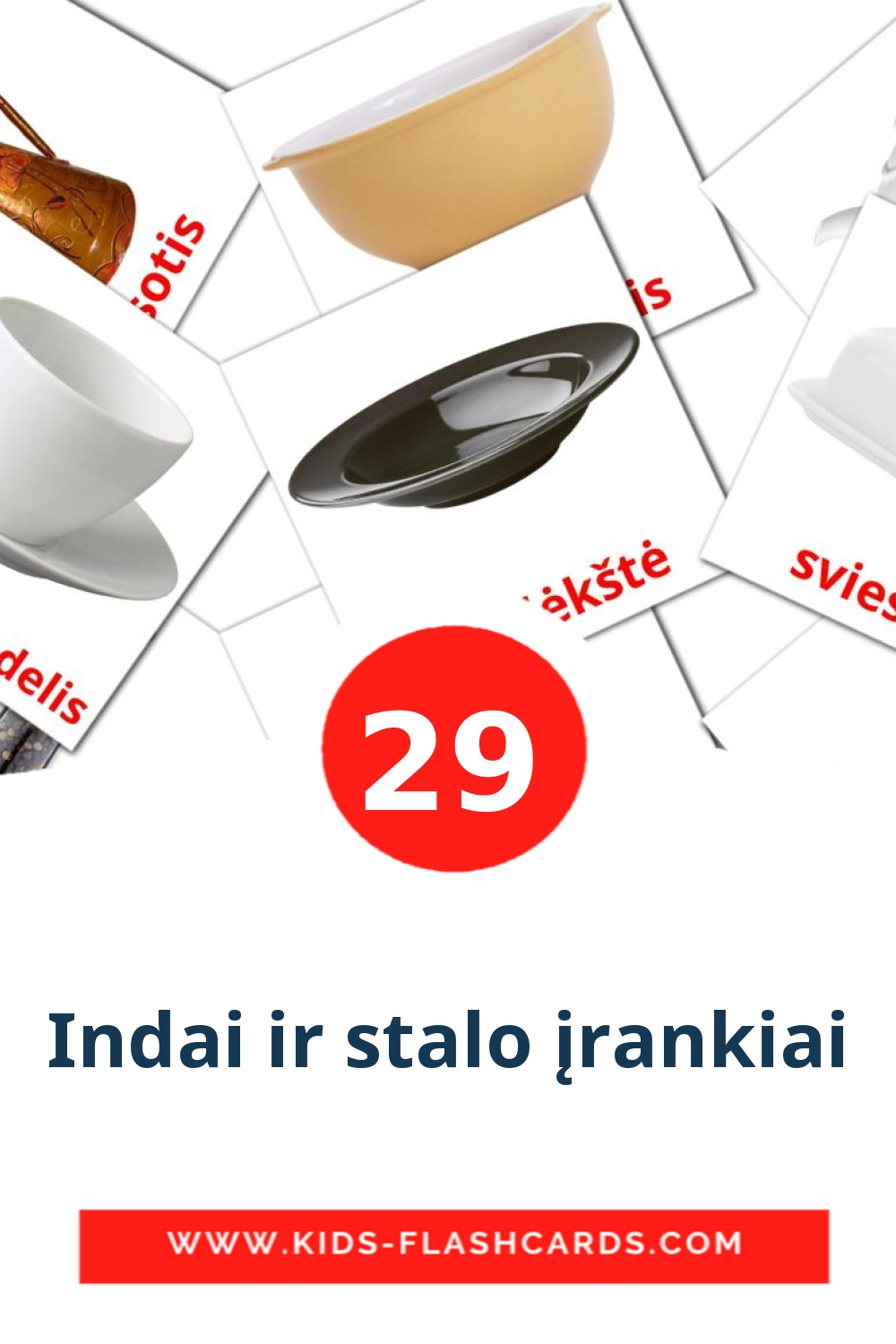 29 Indai ir stalo įrankiai Picture Cards for Kindergarden in lithuanian