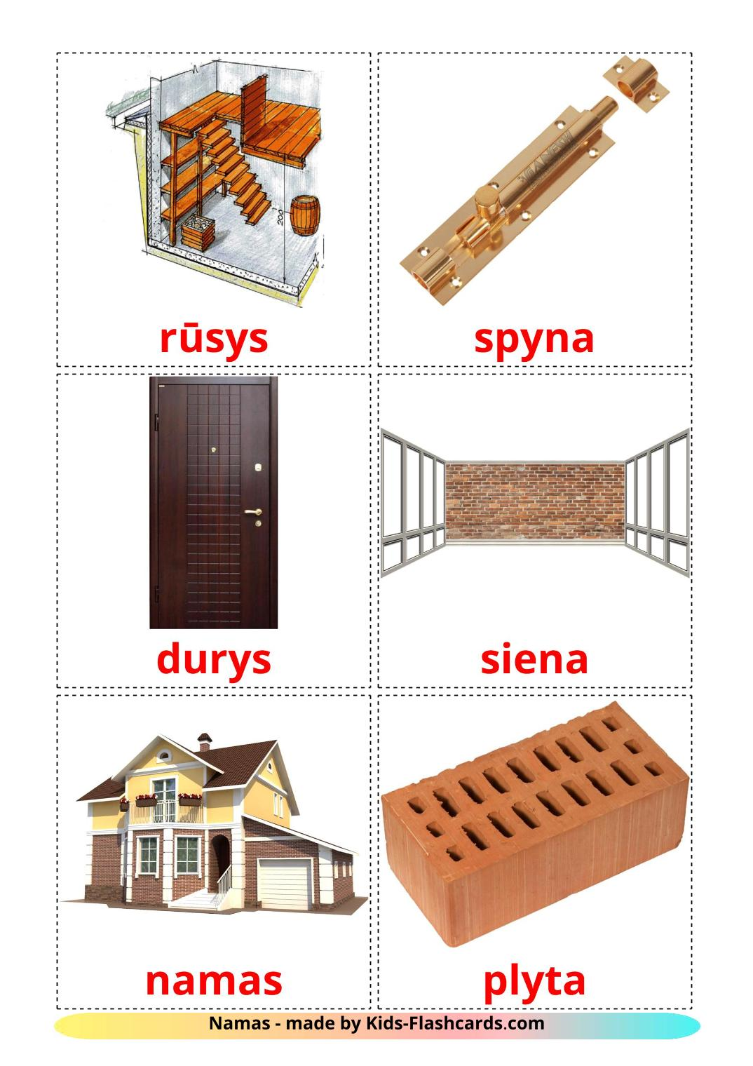 House - 25 Free Printable lithuanian Flashcards