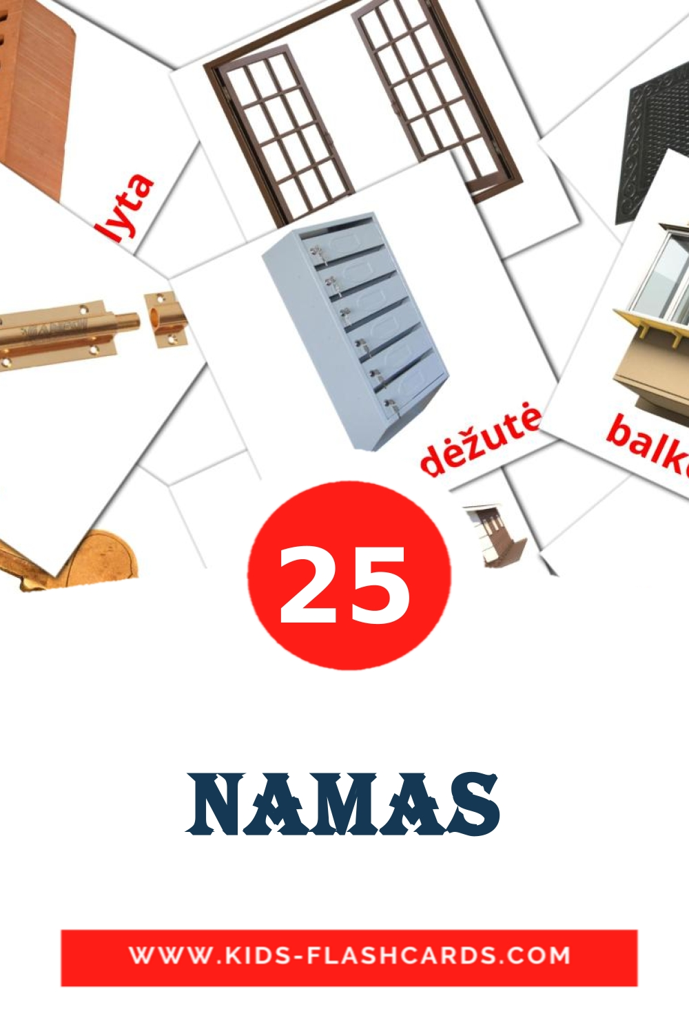 25 Namas Picture Cards for Kindergarden in lithuanian