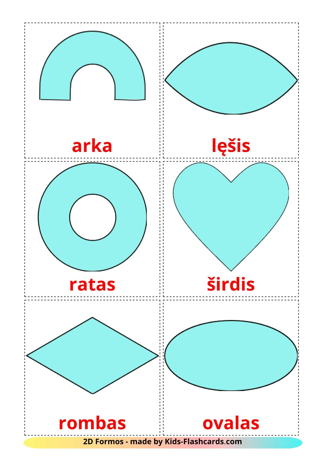 2D Shapes - 35 Free Printable lithuanian Flashcards