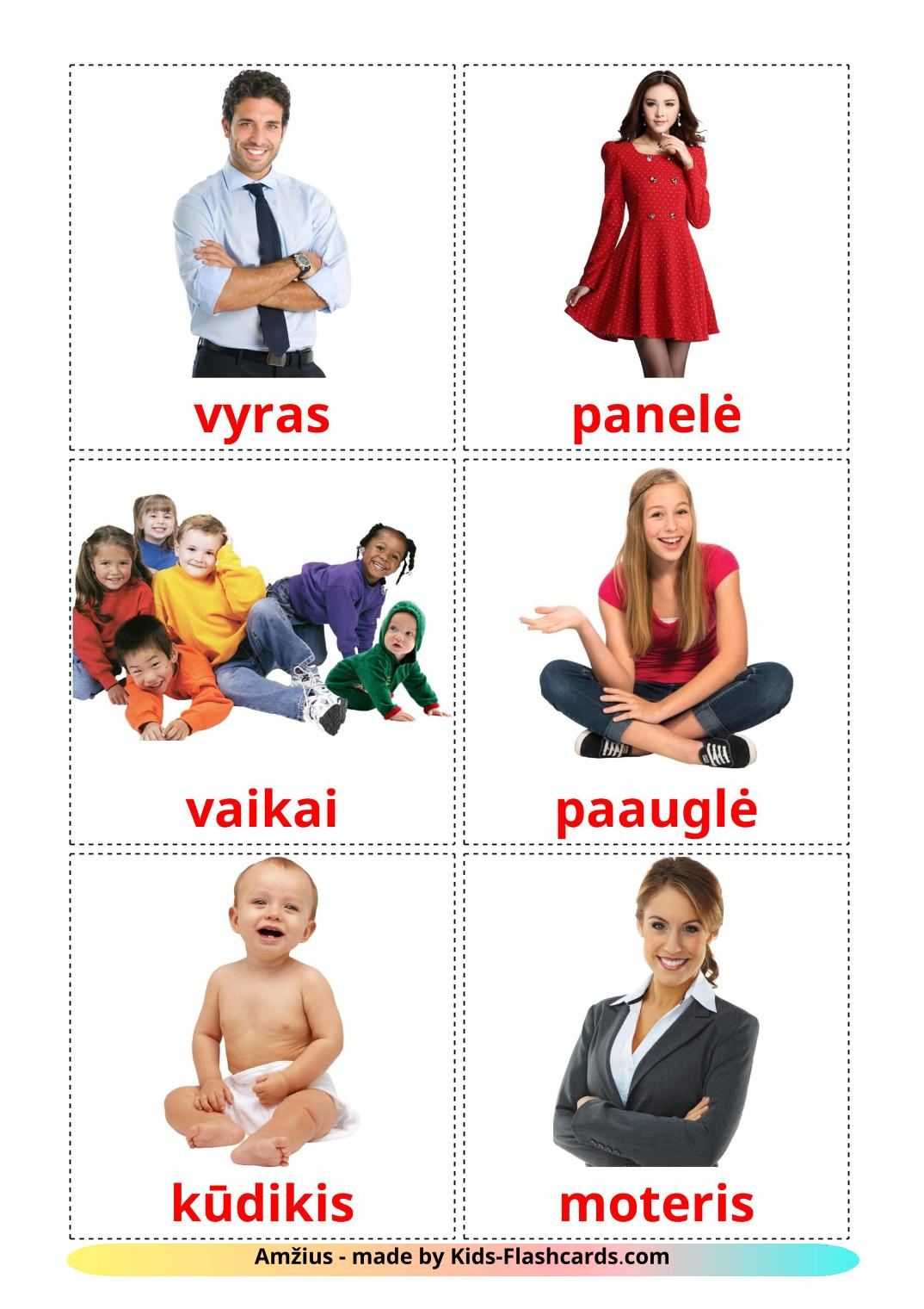 Stages - 12 Free Printable lithuanian Flashcards