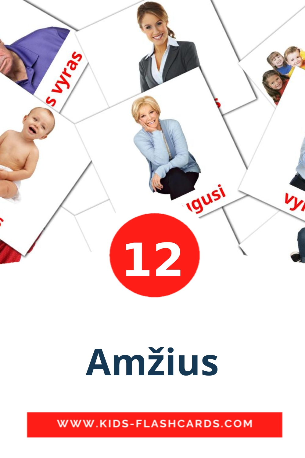 12 Amžius Picture Cards for Kindergarden in lithuanian