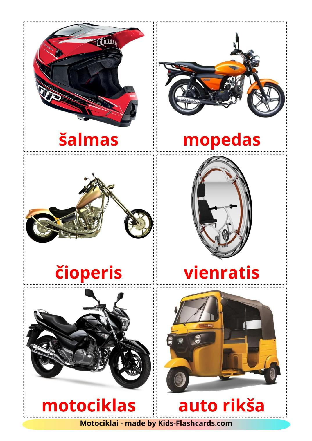 Motorcycles - 14 Free Printable lithuanian Flashcards