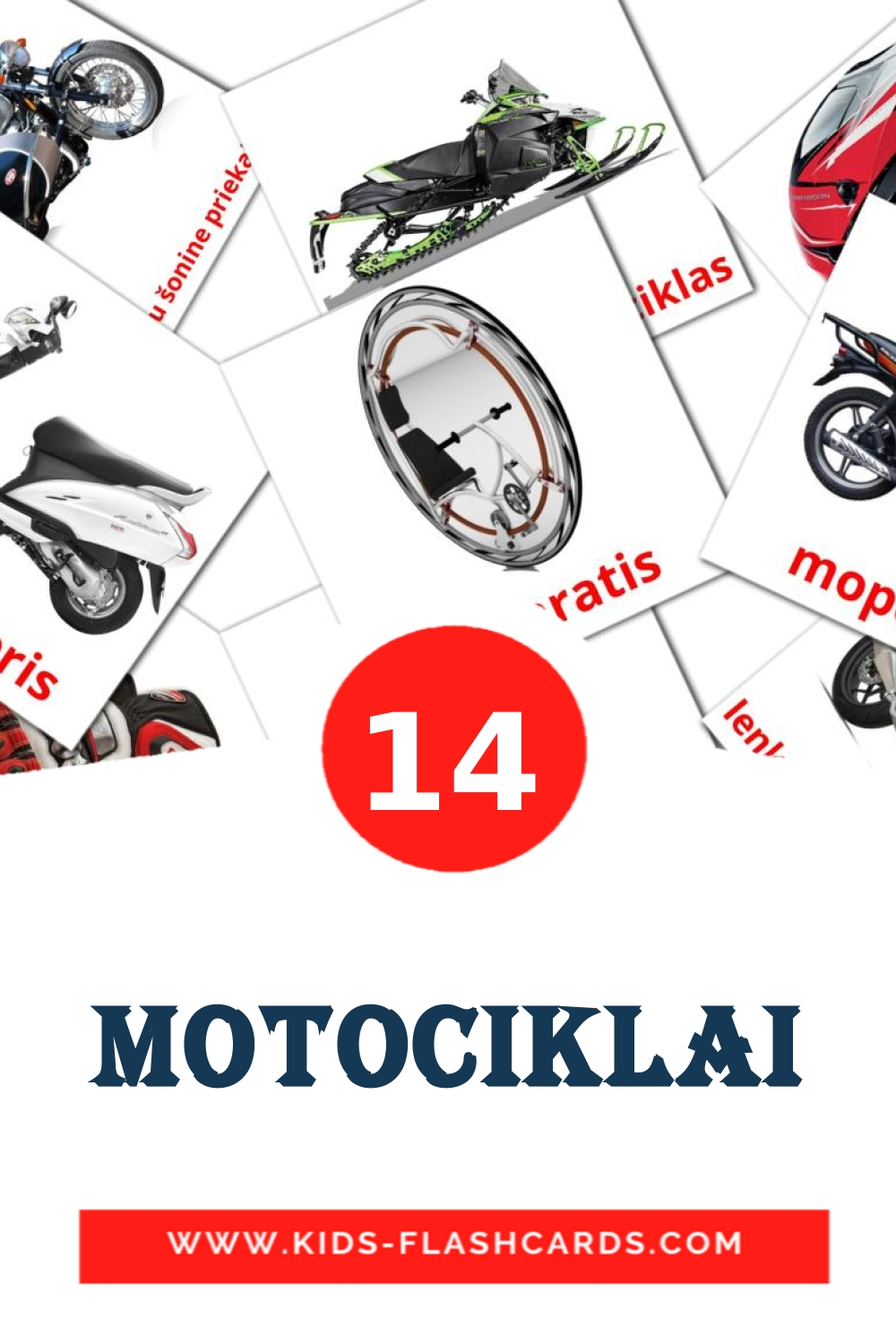 14 Motociklai Picture Cards for Kindergarden in lithuanian