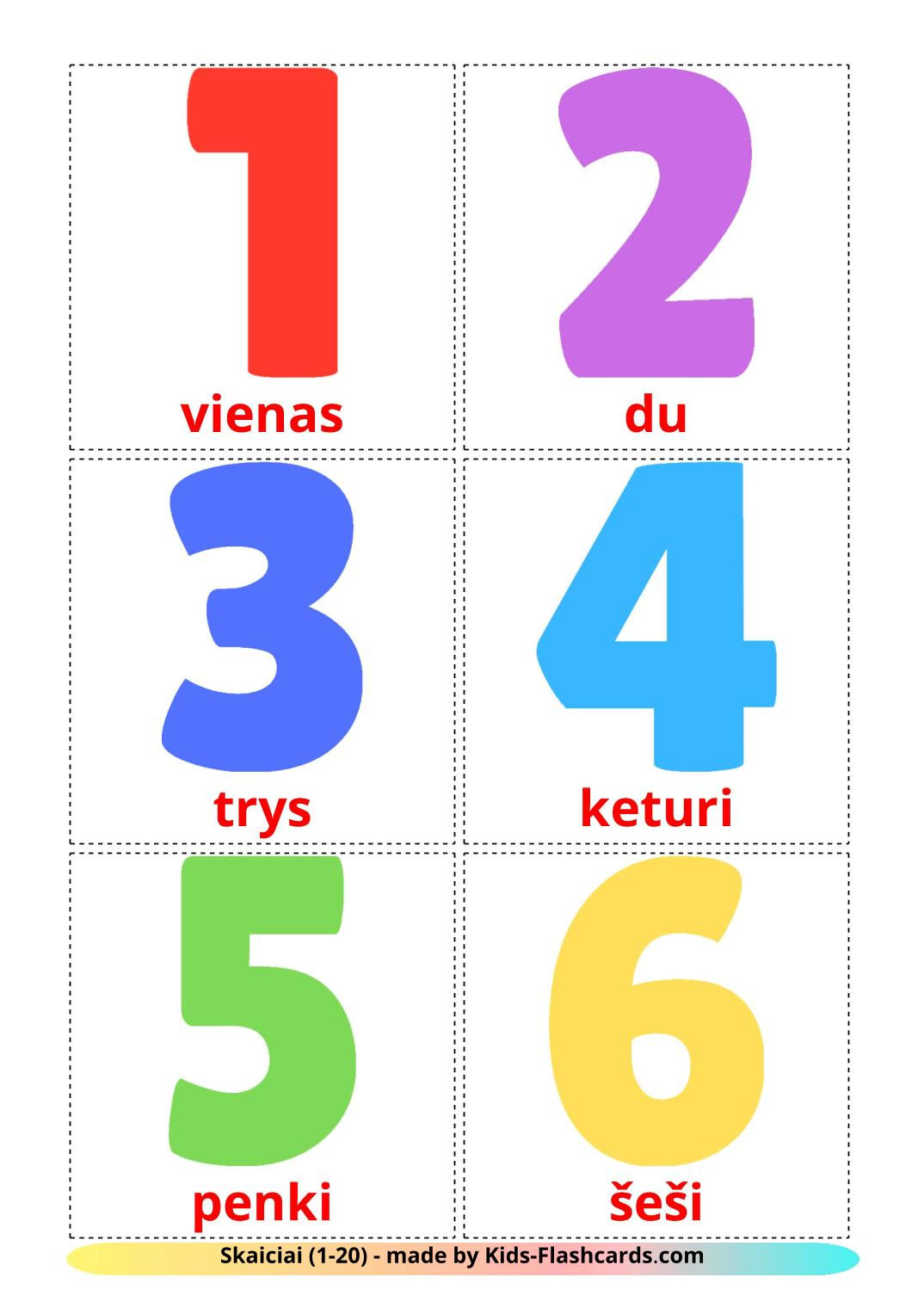 Numbers (1-20) - 20 Free Printable lithuanian Flashcards