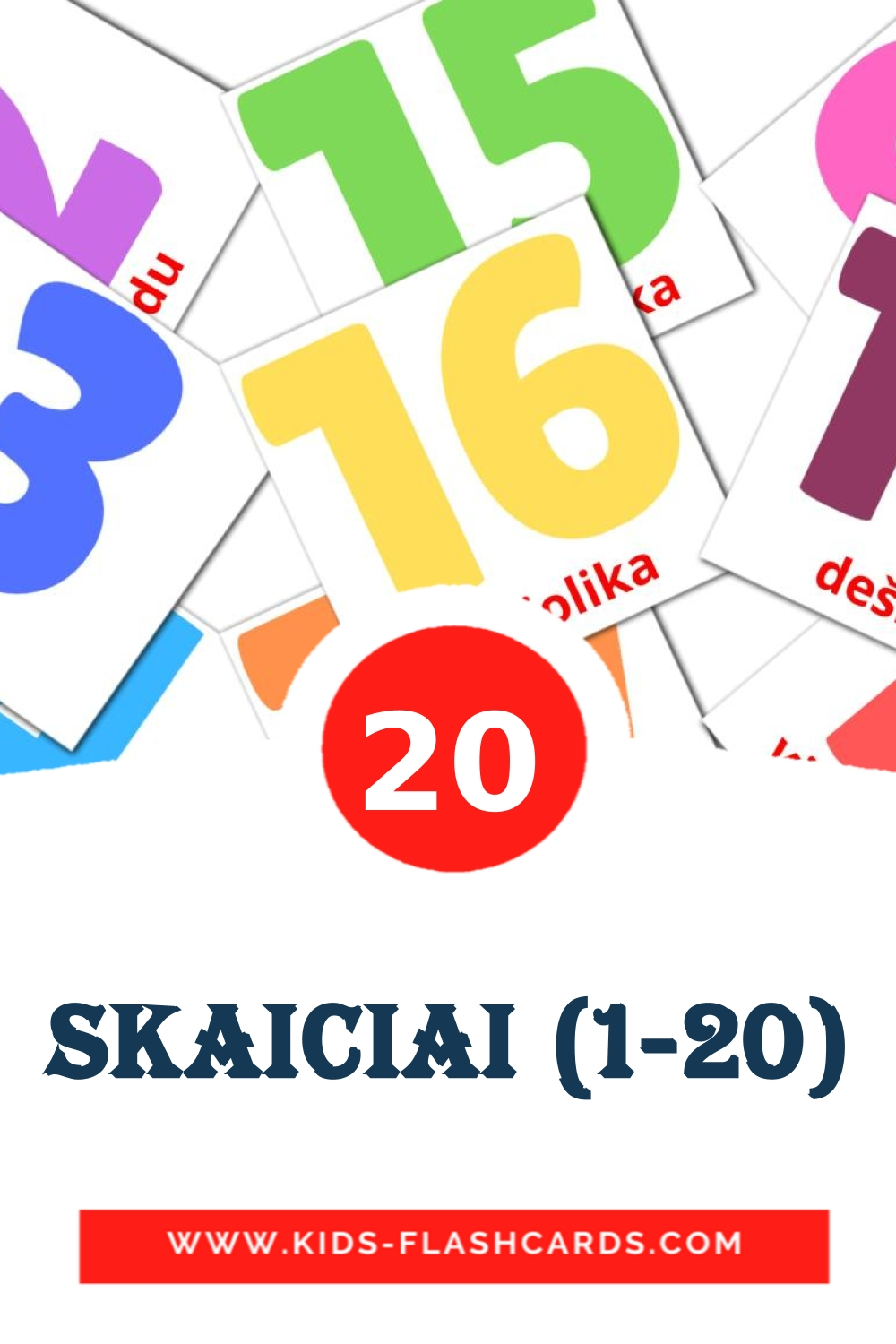 20 Skaiciai (1-20) Picture Cards for Kindergarden in lithuanian