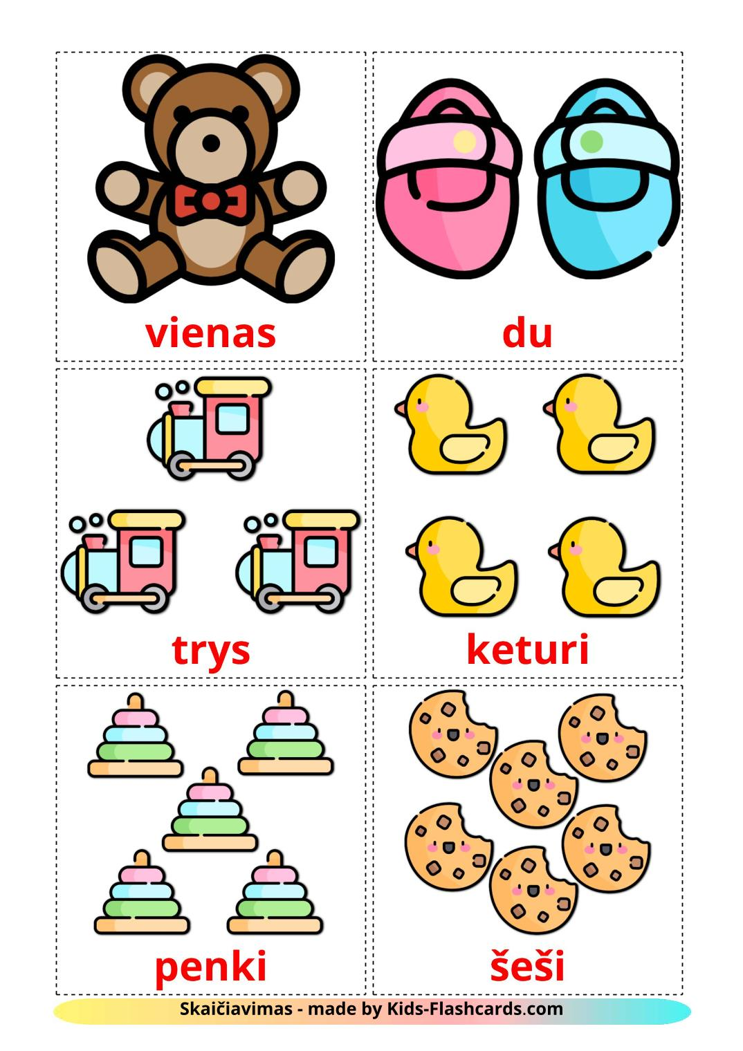 Counting - 10 Free Printable lithuanian Flashcards