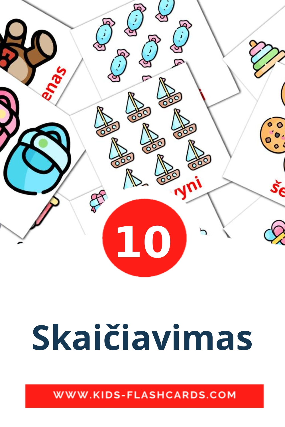 10 Skaičiavimas Picture Cards for Kindergarden in lithuanian