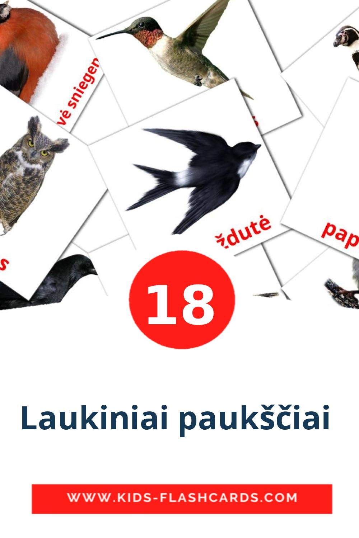 17 Laukiniai paukščiai  Picture Cards for Kindergarden in lithuanian