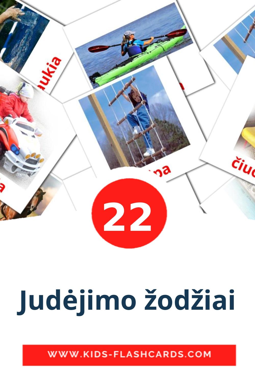 22 Judėjimo žodžiai Picture Cards for Kindergarden in lithuanian