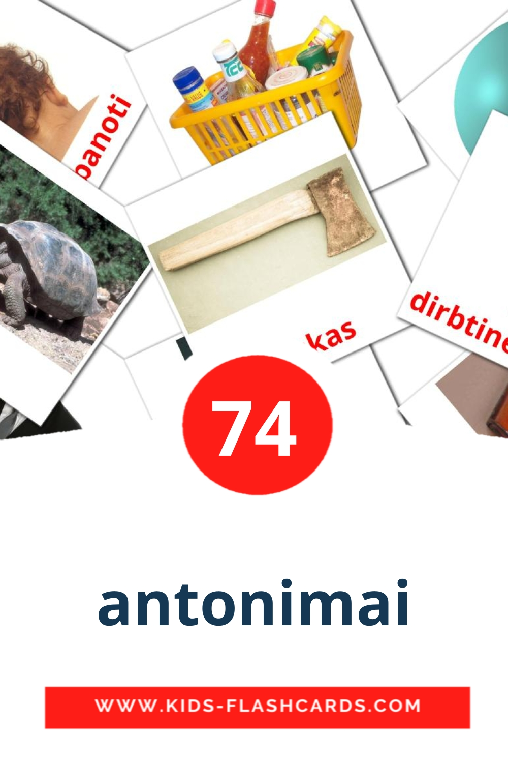 74 antonimai Picture Cards for Kindergarden in lithuanian