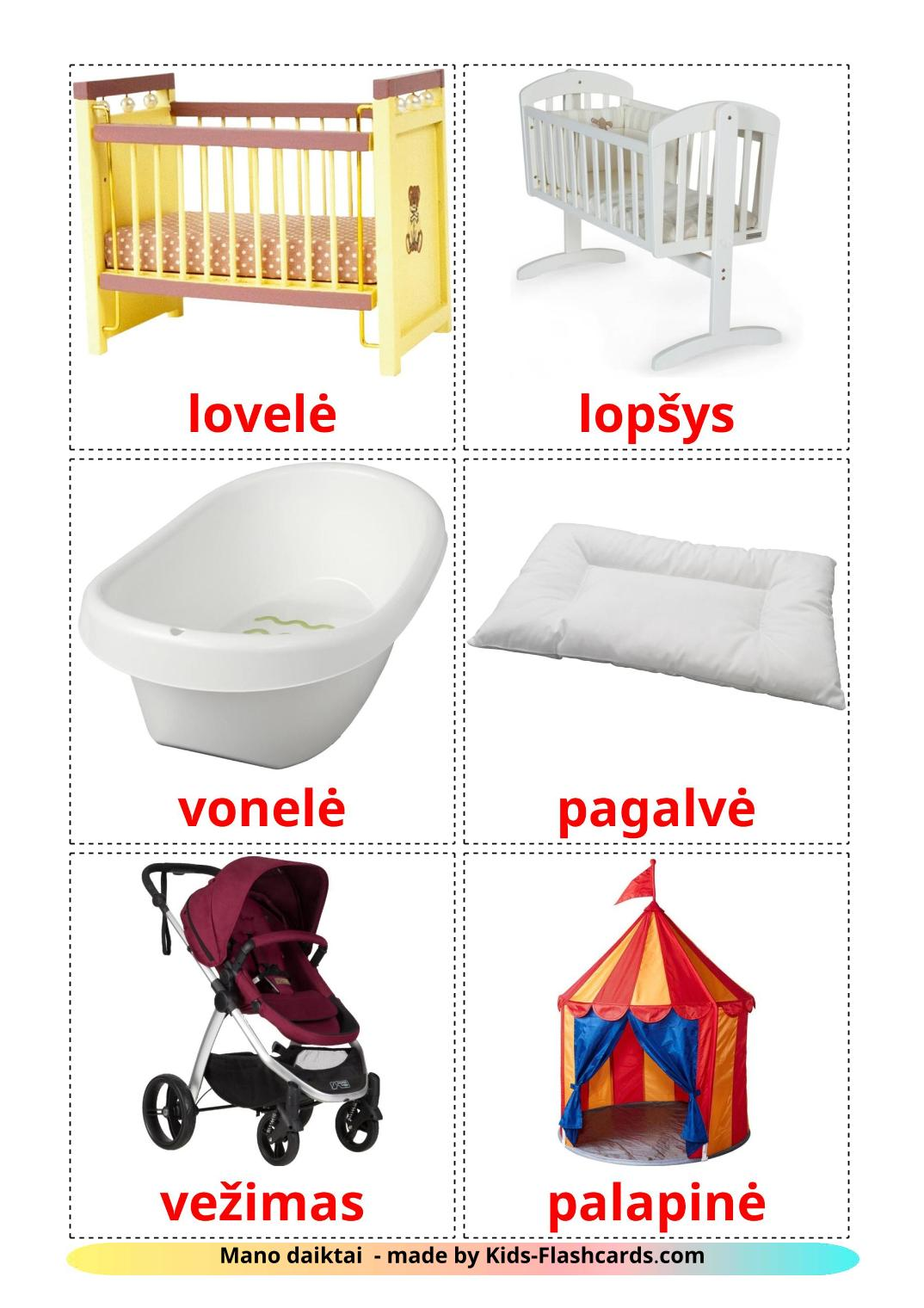 My Things - 20 Free Printable lithuanian Flashcards