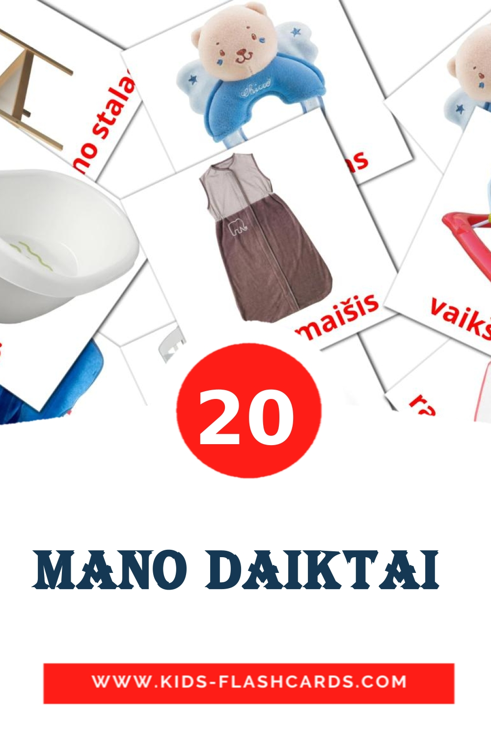 20 Mano daiktai  Picture Cards for Kindergarden in lithuanian
