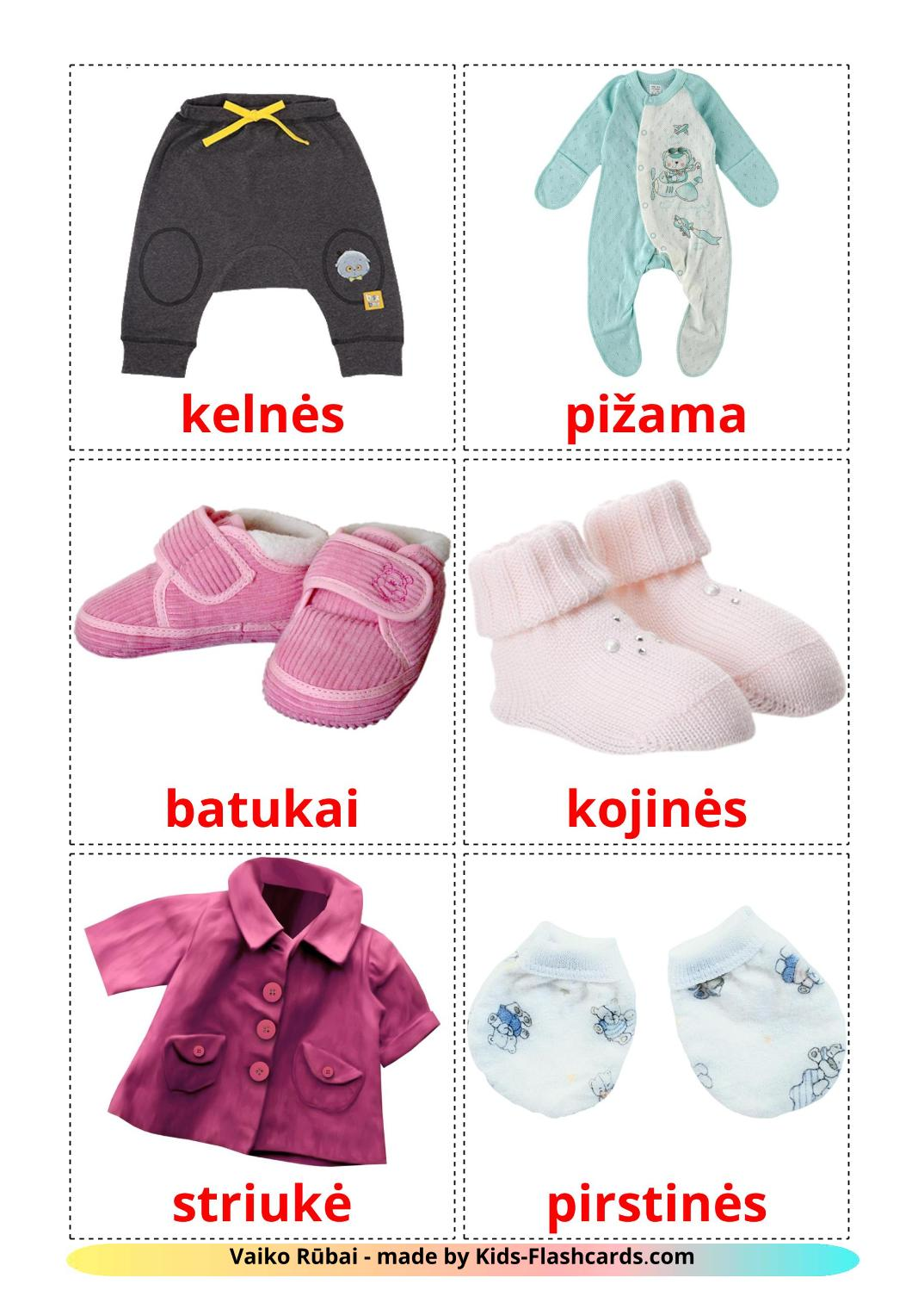 Baby clothes - 12 Free Printable lithuanian Flashcards
