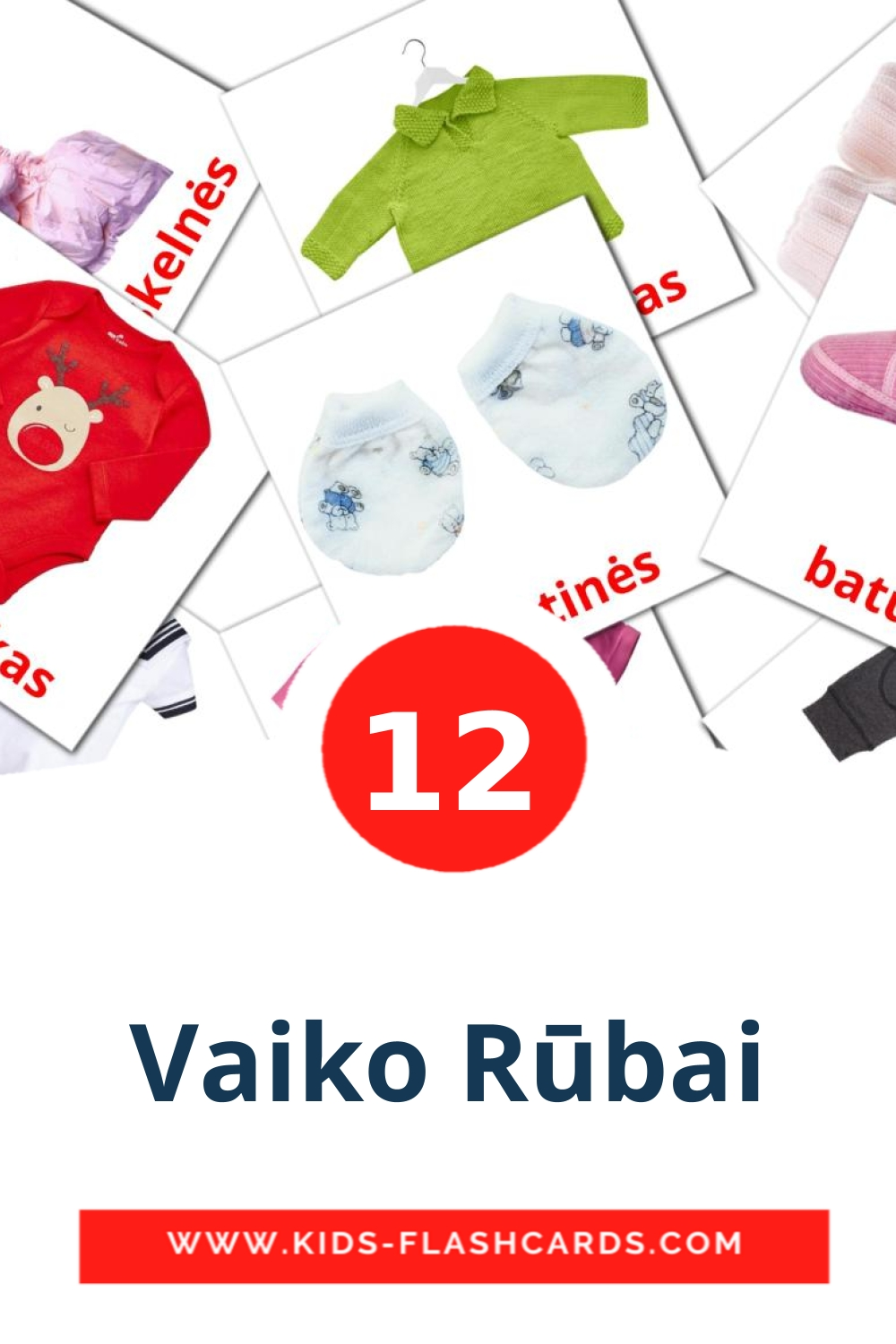 12 Vaiko Rūbai Picture Cards for Kindergarden in lithuanian