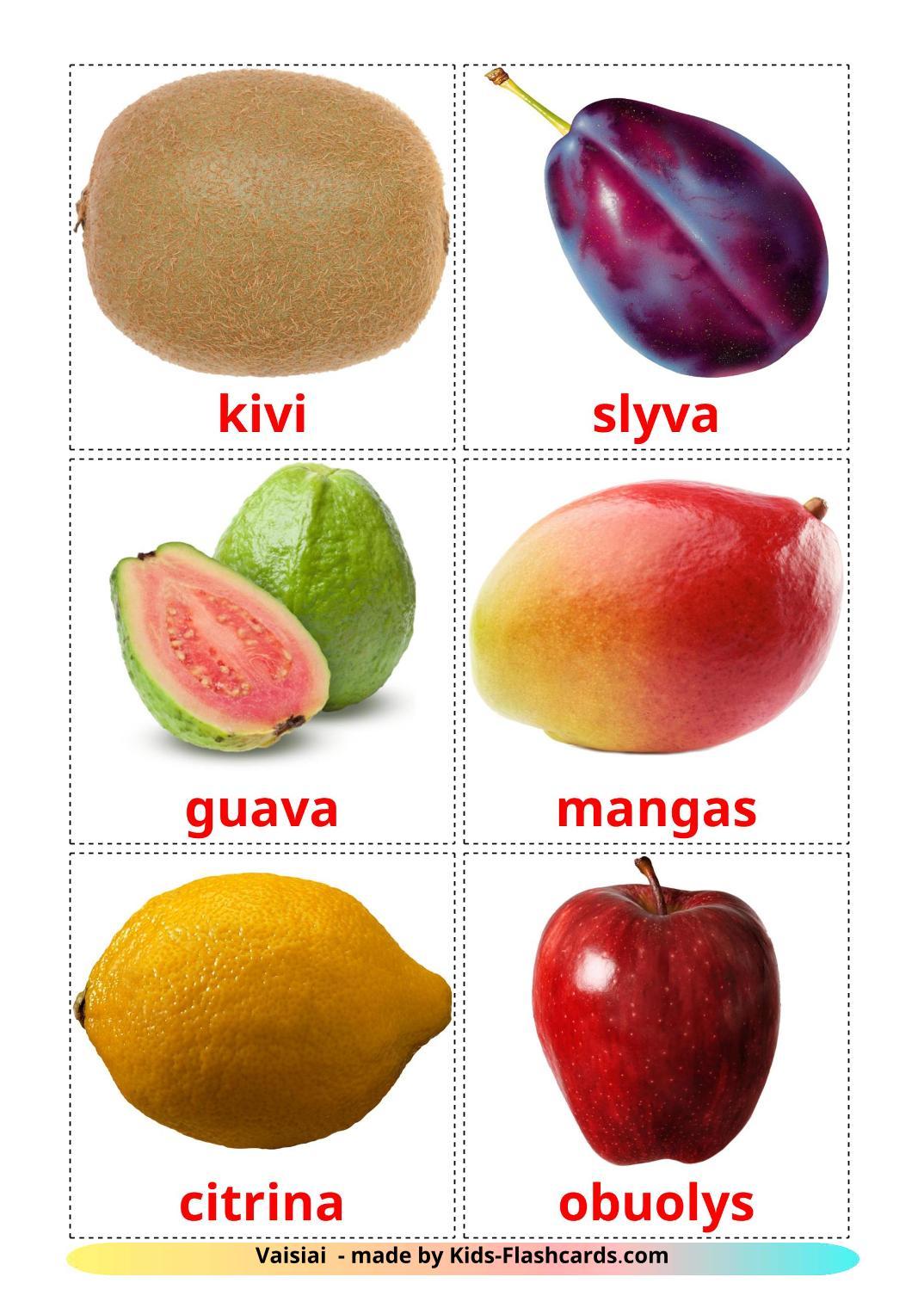 Fruits - 20 Free Printable lithuanian Flashcards