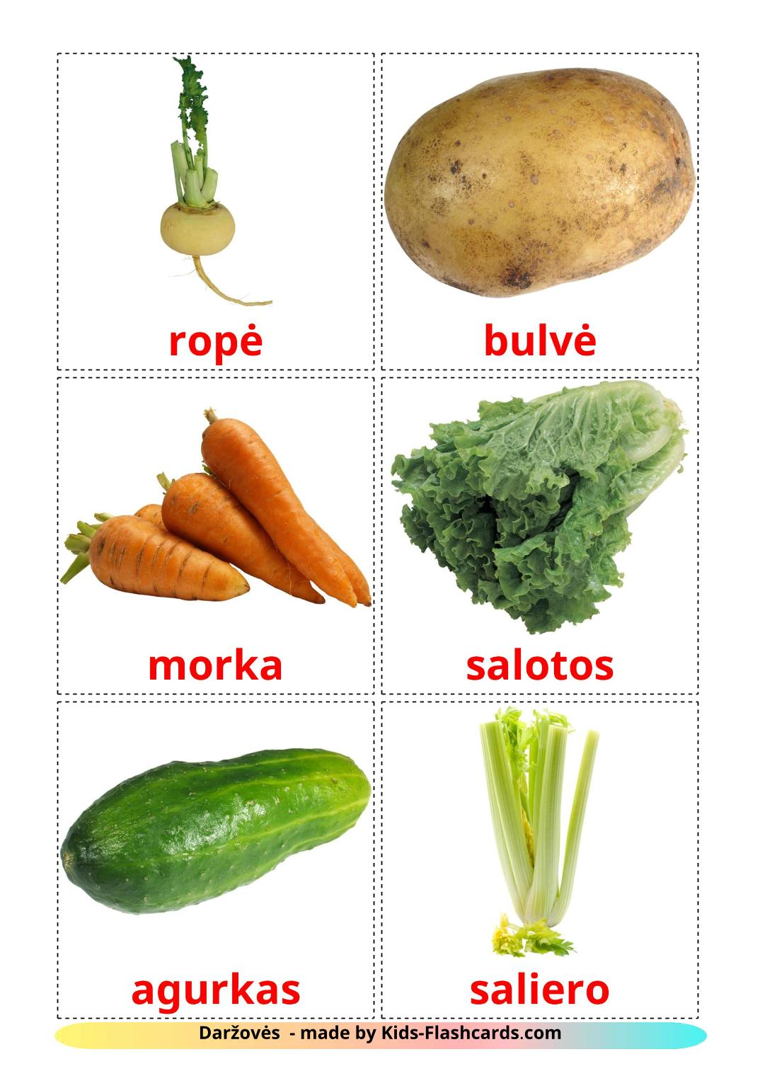 Vegetables - 29 Free Printable lithuanian Flashcards