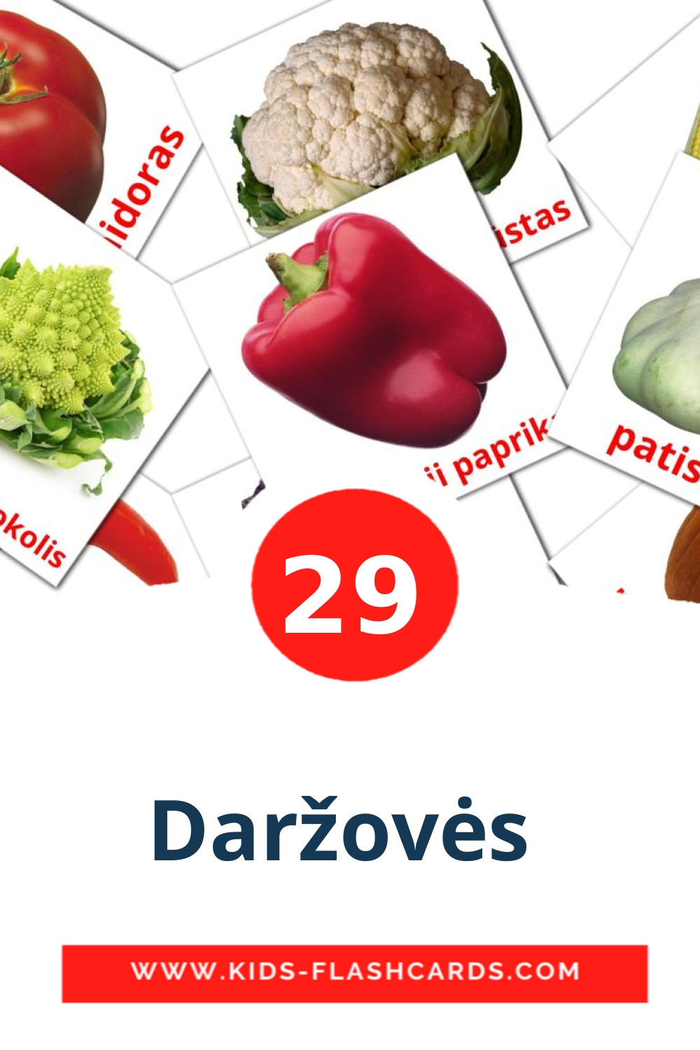 29 Daržovės  Picture Cards for Kindergarden in lithuanian