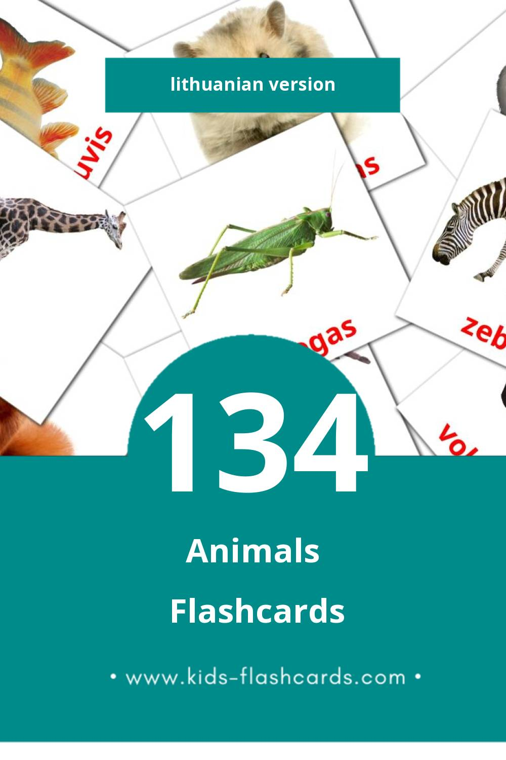 Visual Gyvūnai Flashcards for Toddlers (134 cards in Lithuanian)