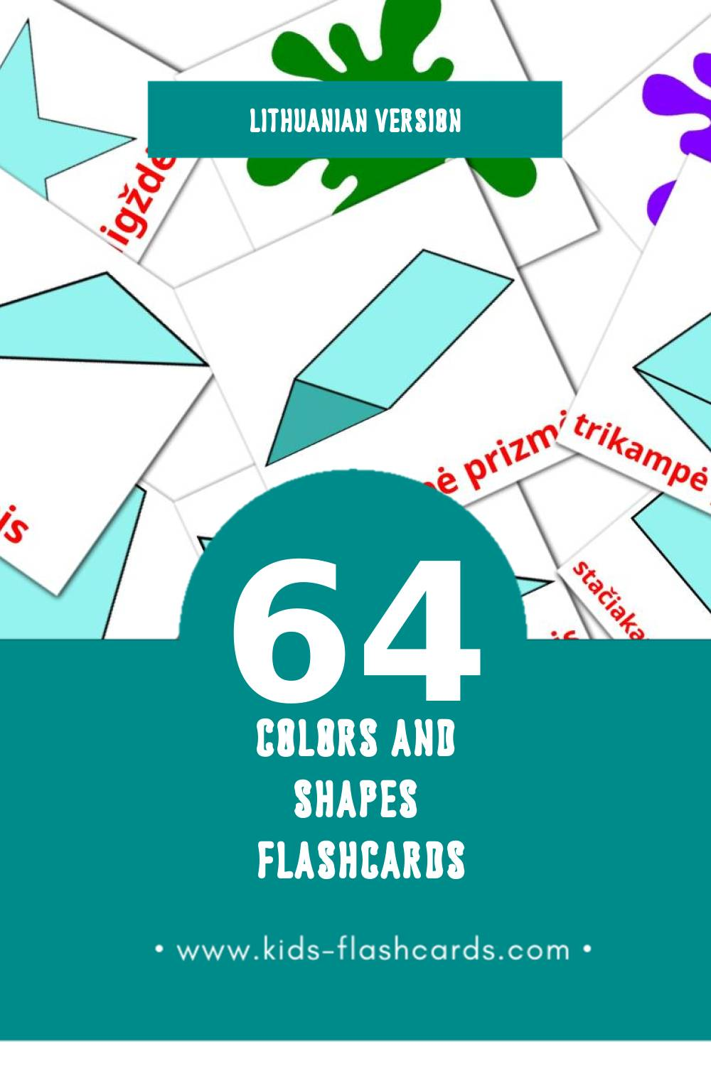Visual Spalvos ir formos Flashcards for Toddlers (47 cards in Lithuanian)