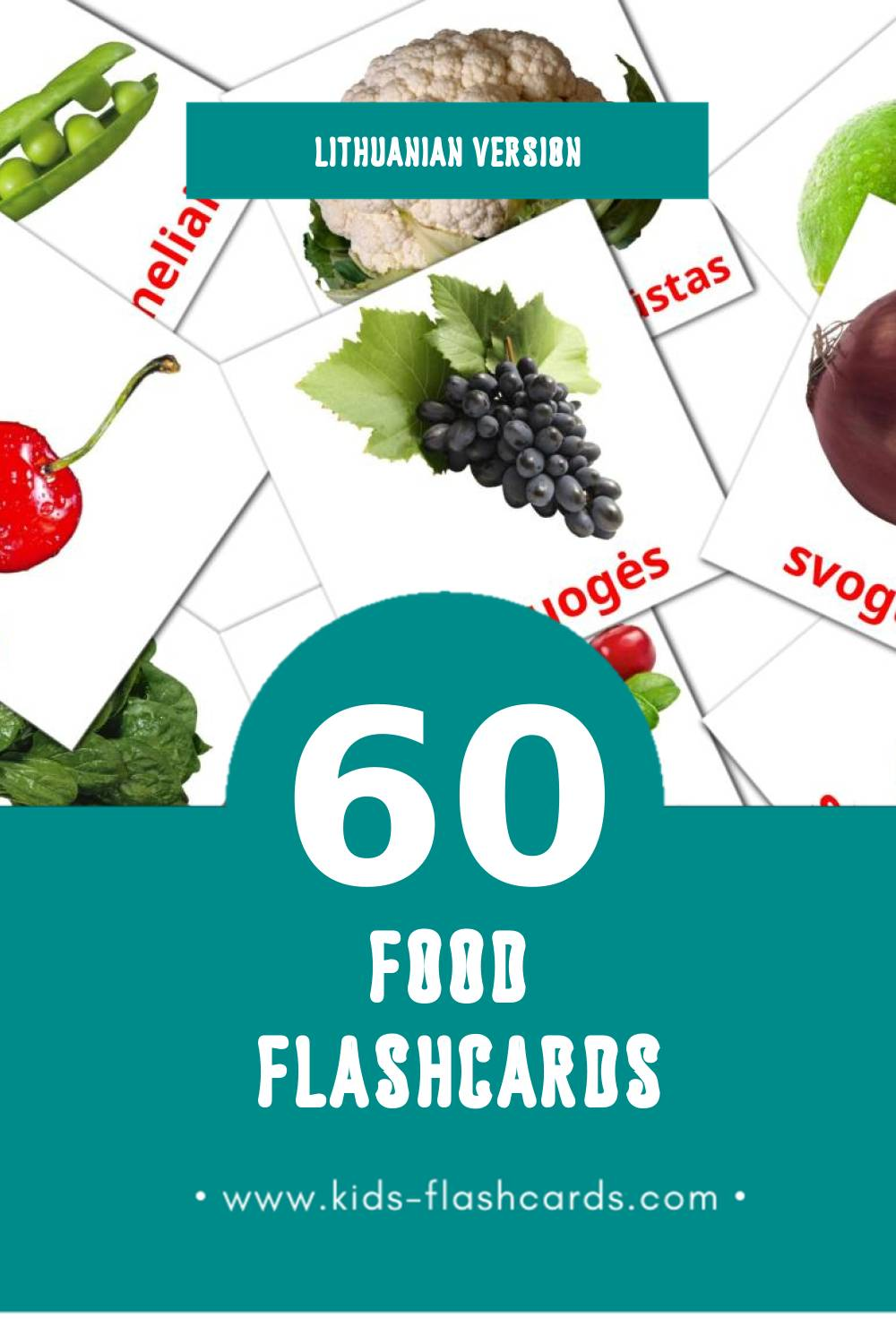 Visual Maistas Flashcards for Toddlers (60 cards in Lithuanian)