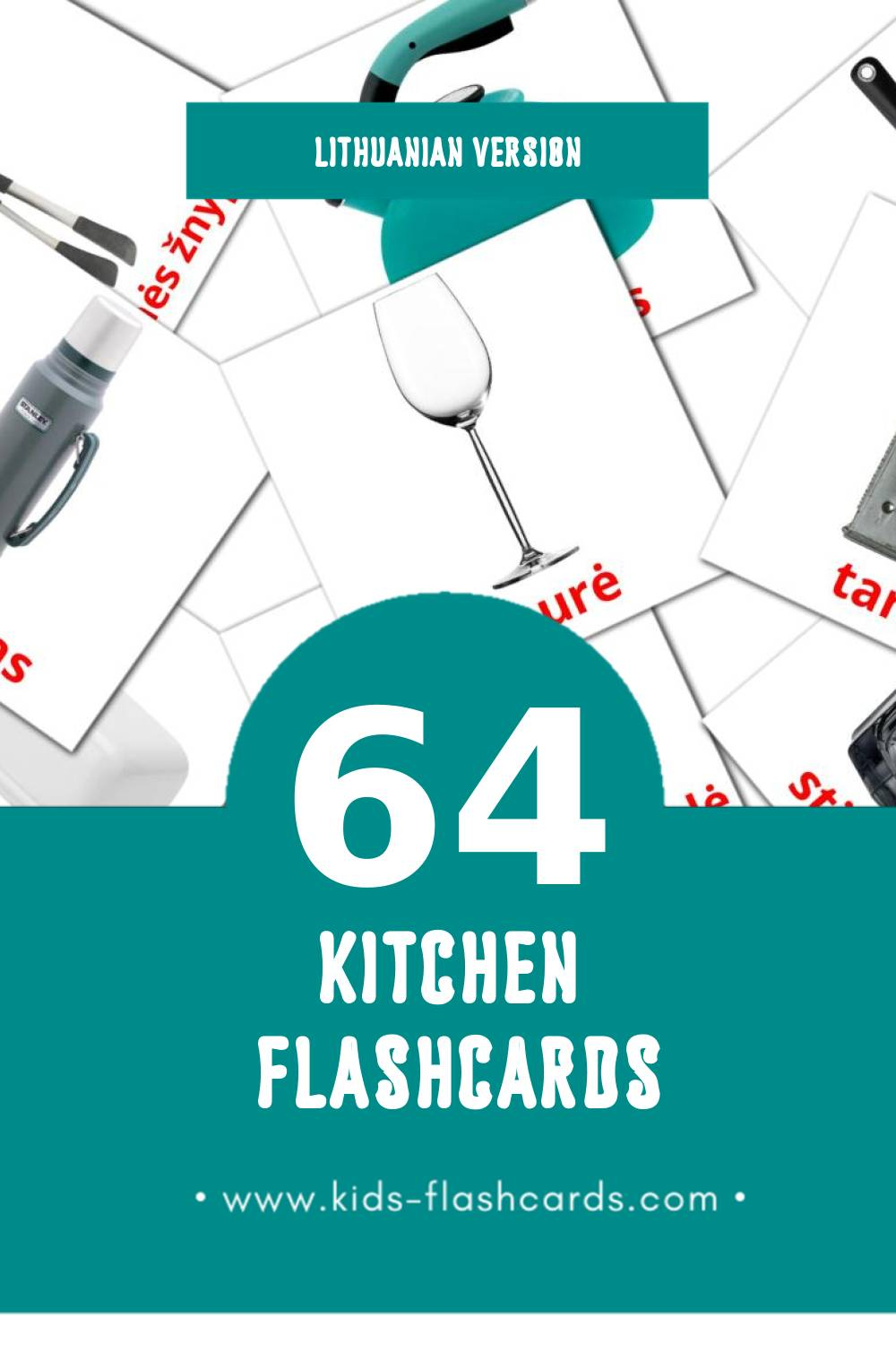 Visual Virtuvė Flashcards for Toddlers (29 cards in Lithuanian)