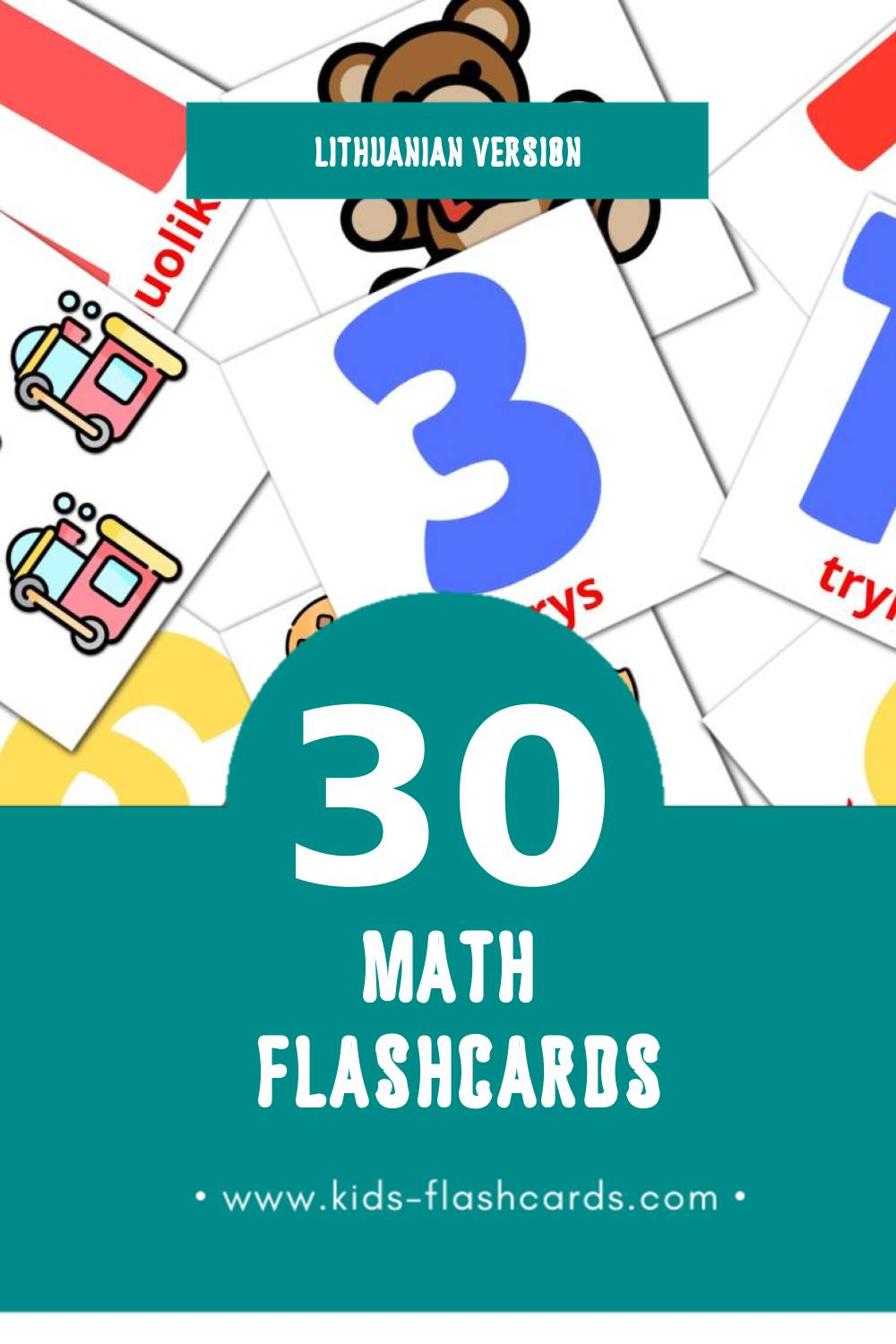 Visual Matematika  Flashcards for Toddlers (30 cards in Lithuanian)