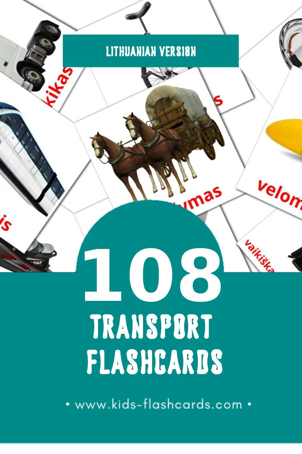Visual Transportas Flashcards for Toddlers (108 cards in Lithuanian)