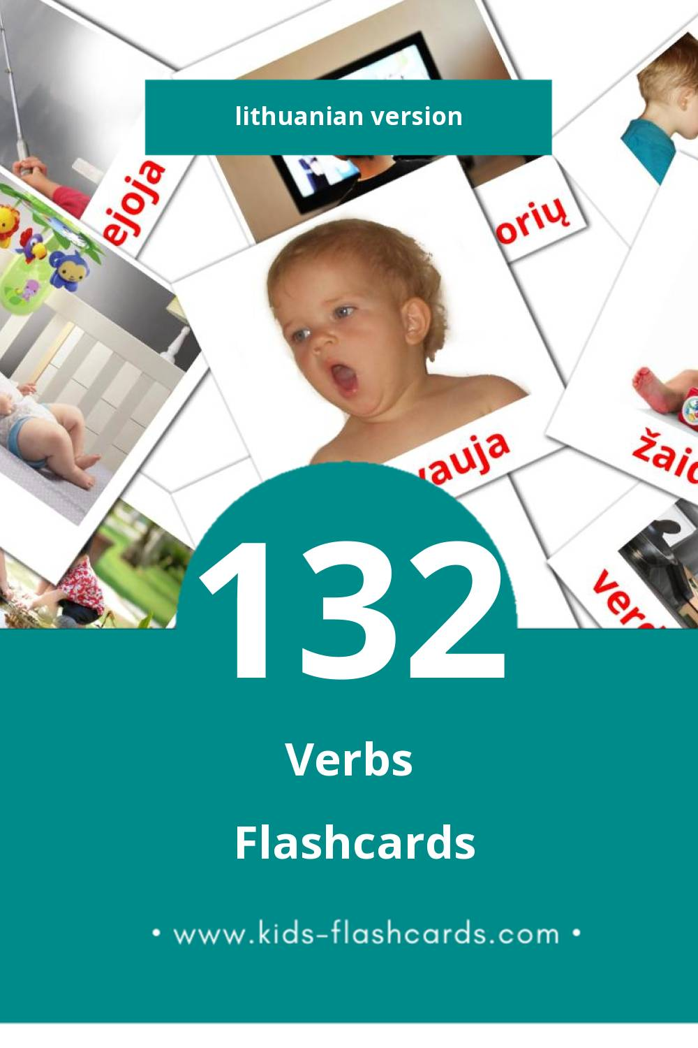 Visual veiksmažodiai Flashcards for Toddlers (133 cards in Lithuanian)