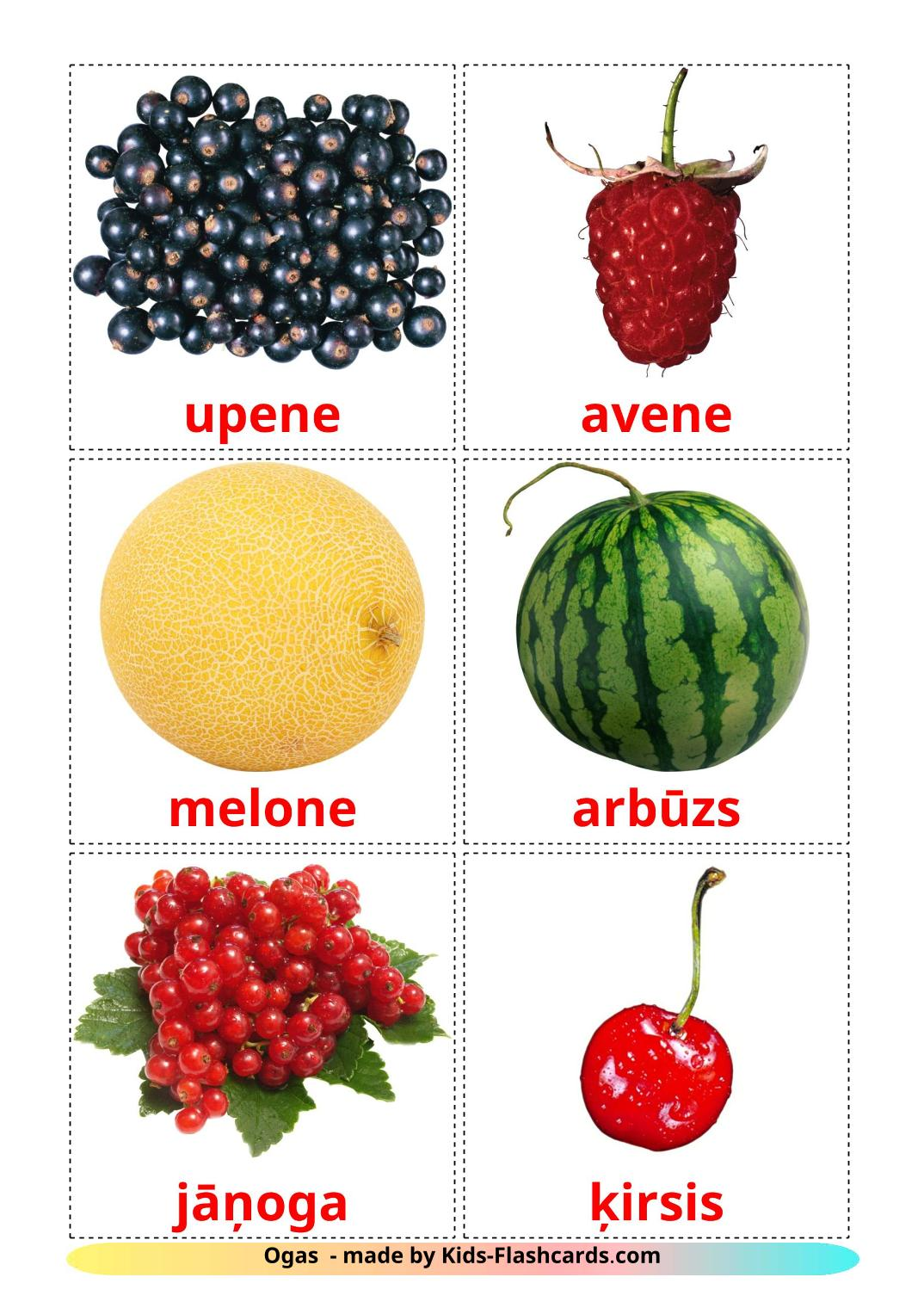 Berries - 11 Free Printable latvian Flashcards