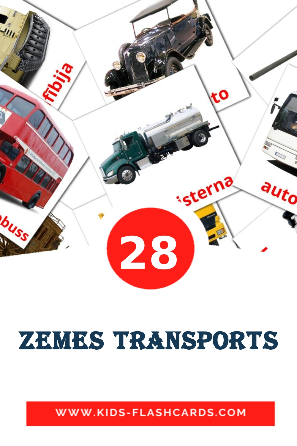 28 Zemes transports Picture Cards for Kindergarden in latvian
